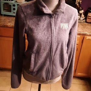 PINK Victoria's Secret grey fleece jacket